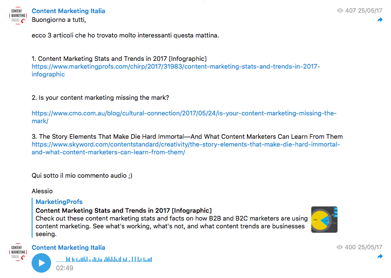 telegram content marketing